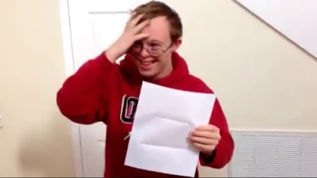 Young Man With Down Syndrome Reacts To Receiving College Acceptance