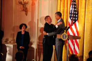 sTim Harris shares a presidential hug1